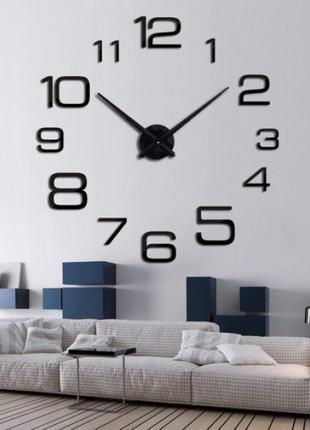 Часы 3D настеные WOW кварцевые Арабские Разные Черные 100 см
