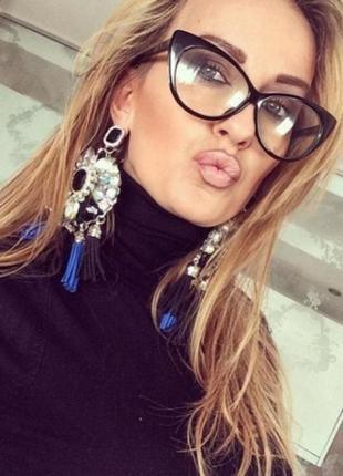 Имиджевые очки без диоптрий, кошачий глаз, cat eye