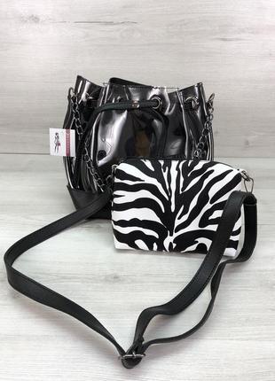 Набор 2в1 сумка и косметичка-клатч силиконовая прозрачная черн...