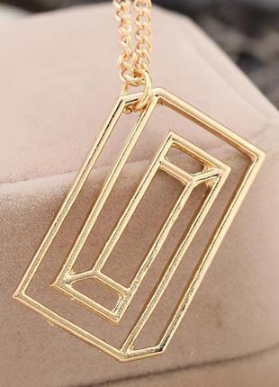 Цепочка ожерелье с кулоном прямоугольник под золото