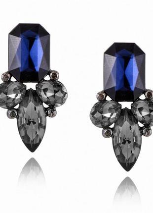 Серьги кристаллы темно-синего цвета