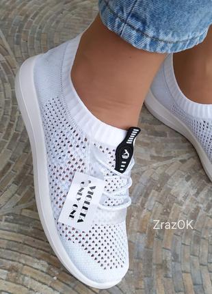 Белые кроссовки кеды слипоны мокасины сетка текстильные