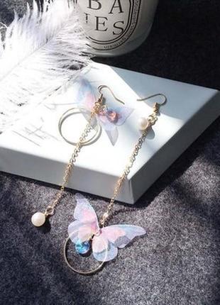 Асимметричные длинные серьги бабочки с жемчужинкой