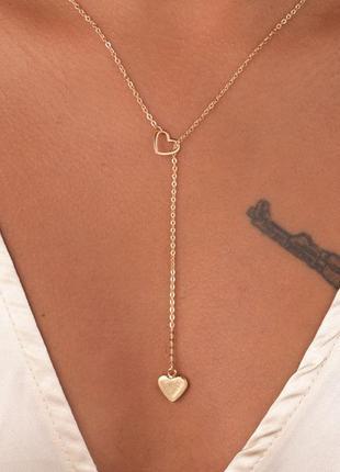 Цепочка ожерелье с подвесками сердце