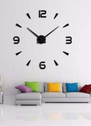 Часы 3D настенные WOW кварцевые Арабские и Засечки Черные 100 см