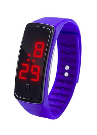 Спортивные фиолетовые силиконовые часы браслет с led циферблатом