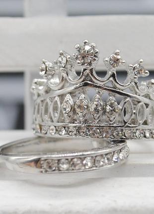 Двойное кольцо корона со стразами