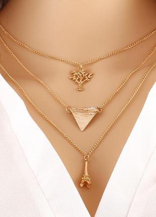 Тройная цепочка ожерелье с подвесками эйфелева башня, треуголь...