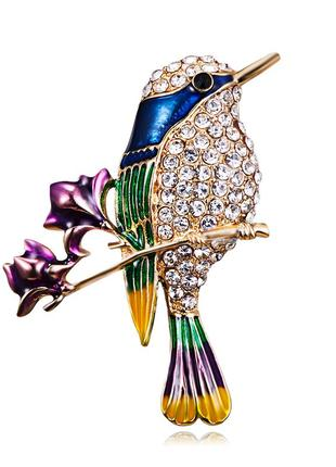 Милая брошь ( брошка ) птичка на ветке