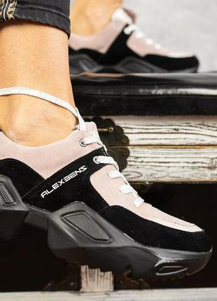 Женские кроссовки замшевые весна/осень розовые-черные benz иг-60