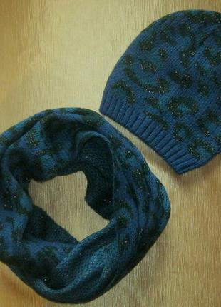 Стоп! демисезонный комплект - удобная шапочка и объемный шарф-...
