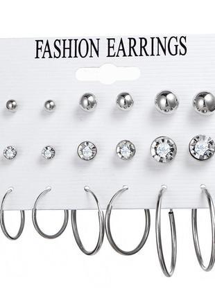 Набор сережек 9 пар (серьги кольца разных диаметров и серьги г...