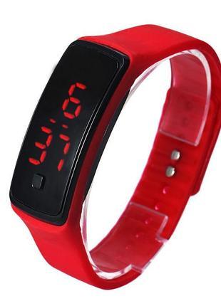 Спортивные красные силиконовые часы браслет с led циферблатом