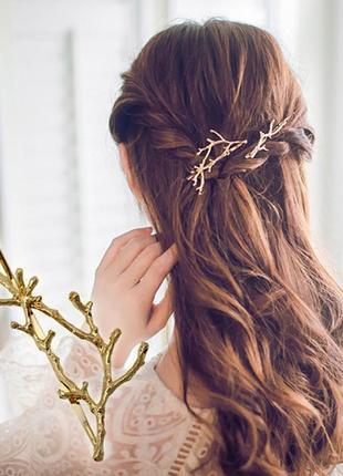 Заколка для волос веточка золотистого цвета