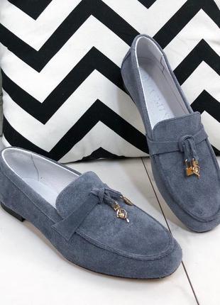 Серые замшевые лоферы,серые замшевые туфли на низком каблуке,з...