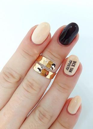 Кольцо позолоченное, колечко на фалангу позолота