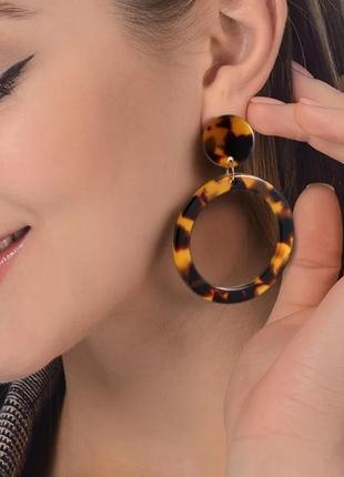 Серьги кольца леопардовый принт
