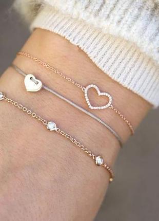Набор браслетов 3 штуки с подвеской сердечко