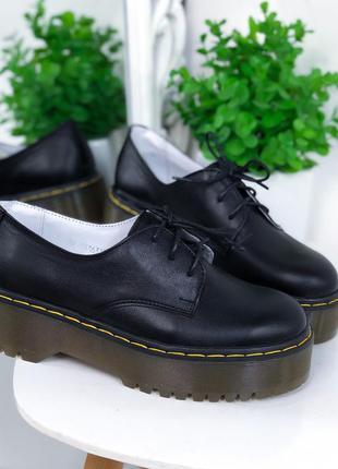 Кожаные туфли на платформе,кожаные туфли на массивной подошве,...
