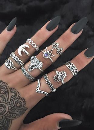 Набор колец на фаланги пальцев 13 штук ( кольцо слон, цветок, ...
