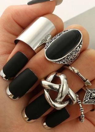 Набор колец 6 штук ( кольцо на весь палец, черный камень, стре...