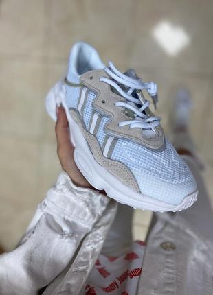 Шикарные белые женские демисезонные кроссовки адидас