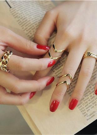 Набор колец 3 штуки ( кольца на фаланги пальцев золотистые )