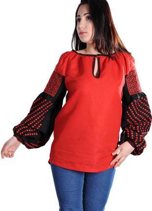 Вышиванка приталенного силуэта с вышивкой гладью, красная