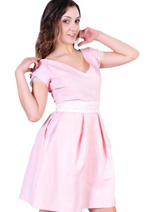 Платье беби-долл с кружевом и двусторонним поясом, розовое