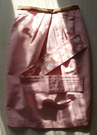 Юбка тюльпан с подкладкой -сердечки и поясом гофре, розовая