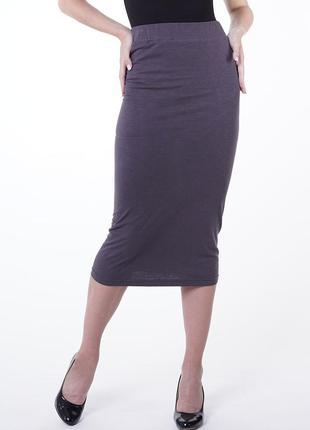 Трикотажная юбка карандаш с завышенной талией
