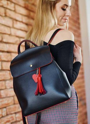 Женский рюкзак-сумка, черно красный