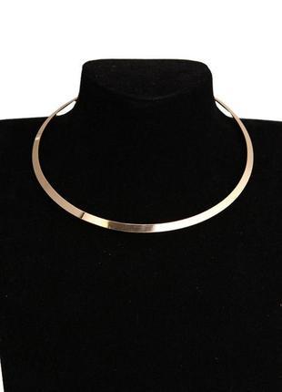 Тонкое металлическое колье ожерелье под золото