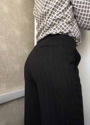 Sale серые шерстяные брюки в полоску/клеш от бедра/широкие брюки