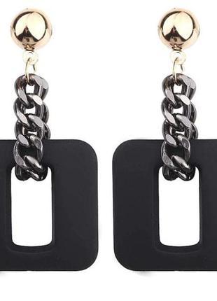 Длинные серьги квадратные  цепи черного цвета