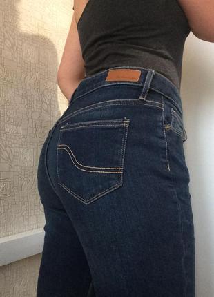 Sale синие укороченные джинсы на высокой посадке