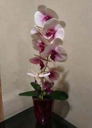 Декоративная искусственная орхидея латекс композиция в горшке