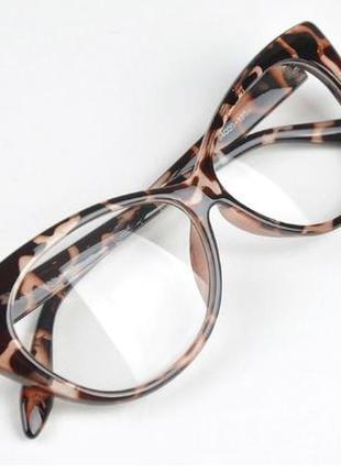 Имиджевые очки без диоптрий, кошачий глаз, cat eye леопардовый...