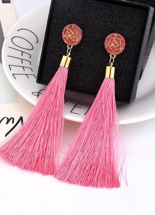 Длинные серьги кисточки с кристаллами розовые