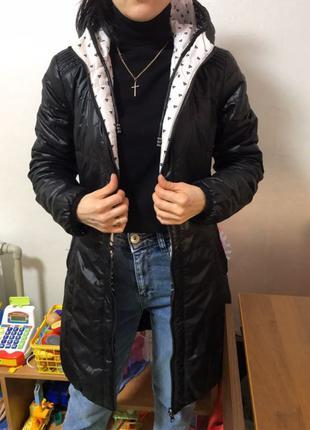 куртка демисезонная двухсторонняя удлинённая