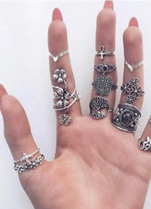 Набор колец 14 штук ( кольцо на весь палец, цветок, лотос,дере...