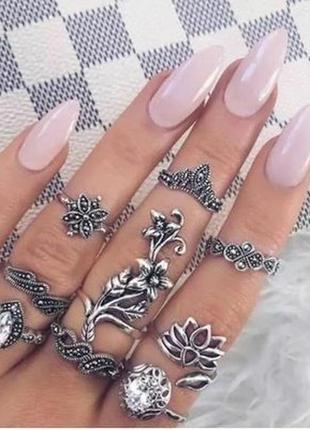 Набор колец 10 штук кольцо на весь палец, цветок, корона сереб...