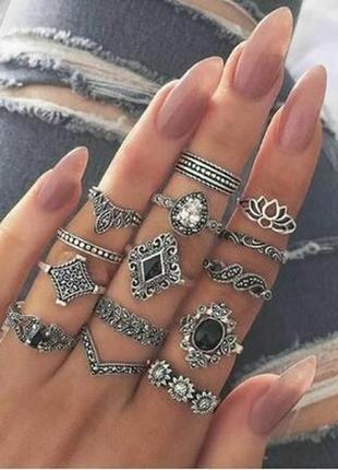 Набор колец 15 штук кольцо цветок, черный камень, корона сереб...