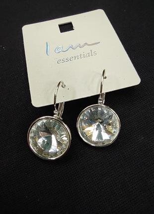 Серьги камни серебро серебристые сережки украшение swarovski i...