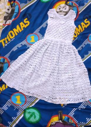 Платье вязанное крючком 6-12 лет.