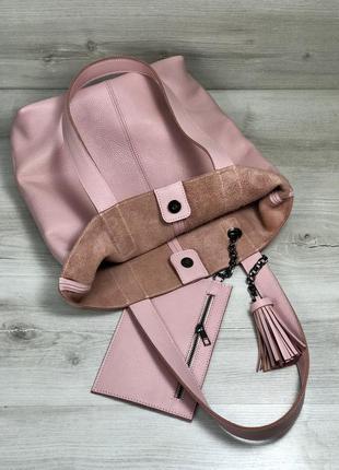 Кожаная женская сумка+кошелек - шоппер пудровая.