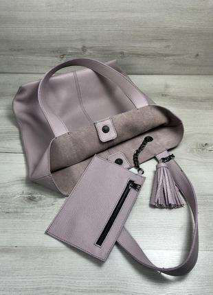 Кожаная женская сумка+кошелек - шоппер.