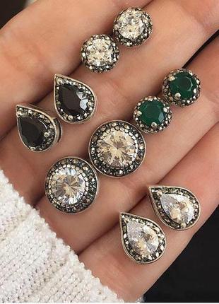 Набор красивых сережек с кристаллами 5 пар ( серьги гвоздики с...