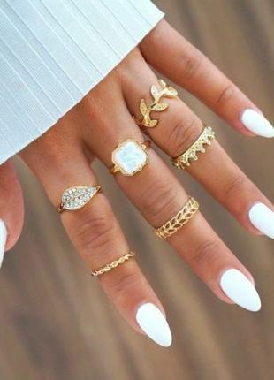 Набор колец 6 штук золотистого цвета кольцо листок, корона, опал