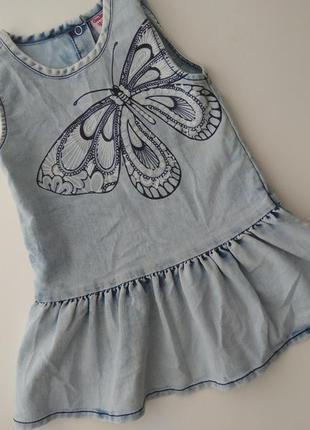 Джинсовый сарафан сарафанчик платье 1-1,5 года 12-18 мес